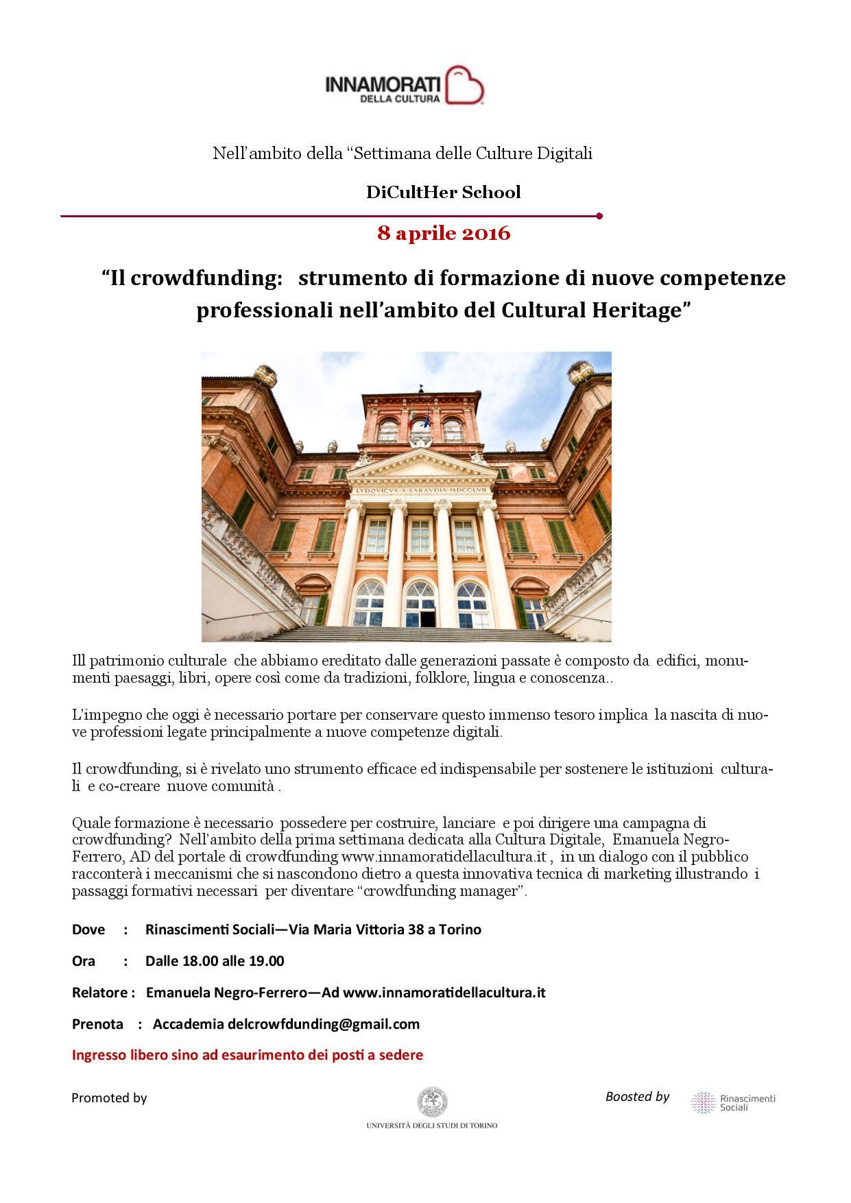 Il crowdfunding:  strumento di formazione di nuove competenze professionali  nell'ambito del Cultural Heritage