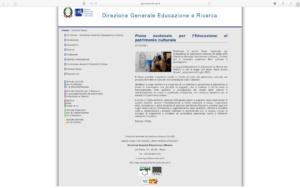 Pagina web del Piano Nazionale Educazione Patrimonio Culturale